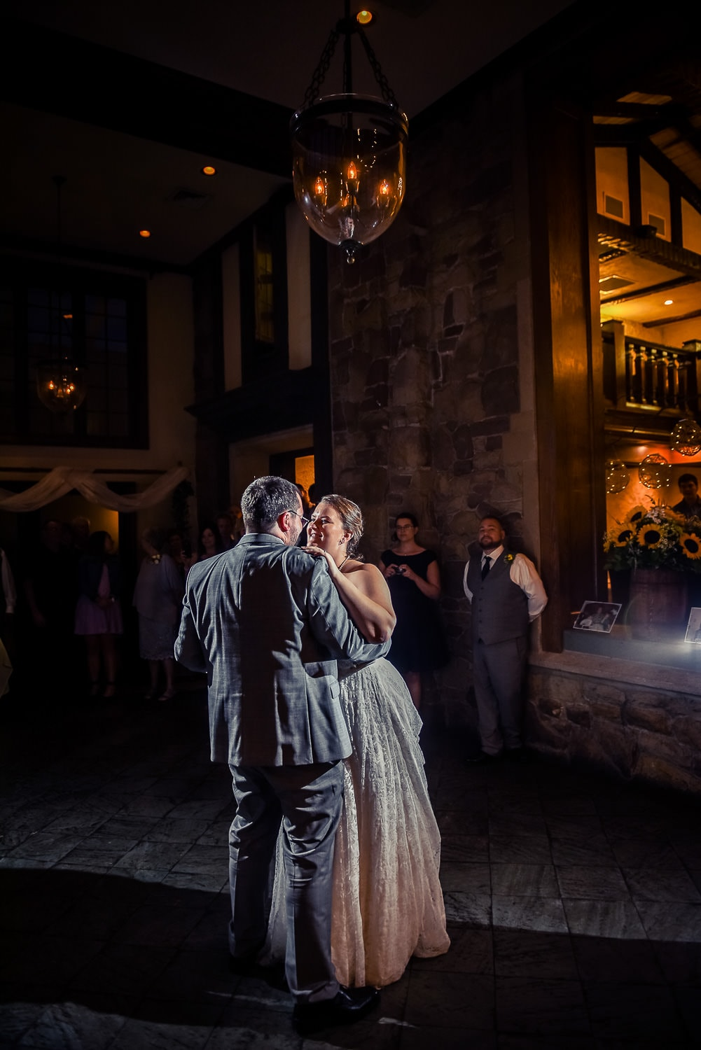 Bride and groom dancing first dance at wedding at Windemere Manor London Ontario