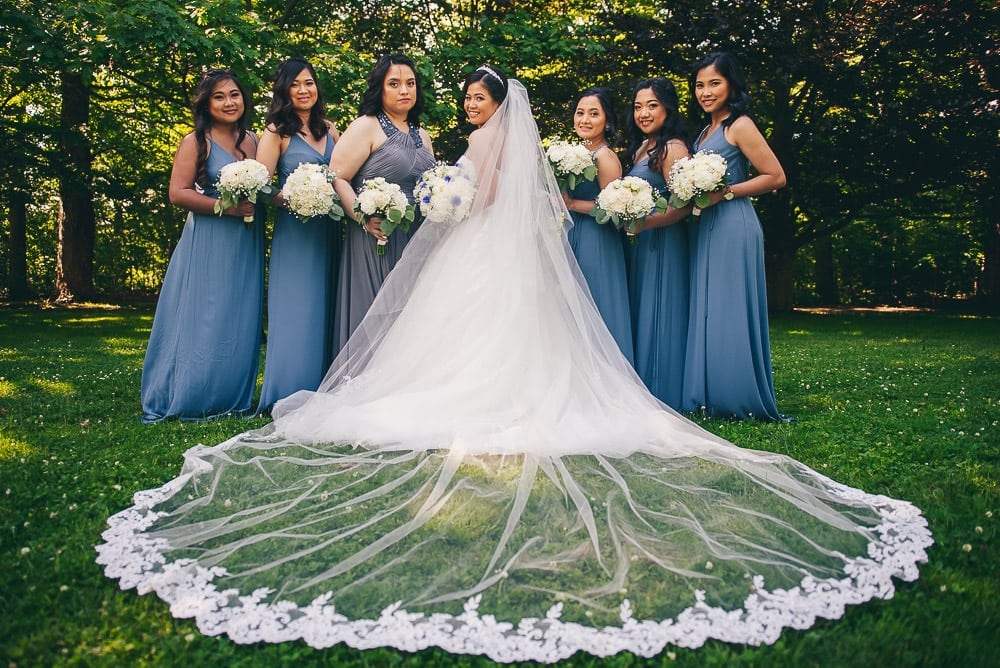 bridal party wedding photo at civic gardens in London Ontario