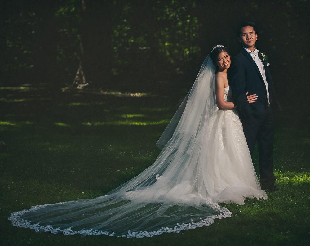 bride and groom wedding photo in civic gardens on London Ontario