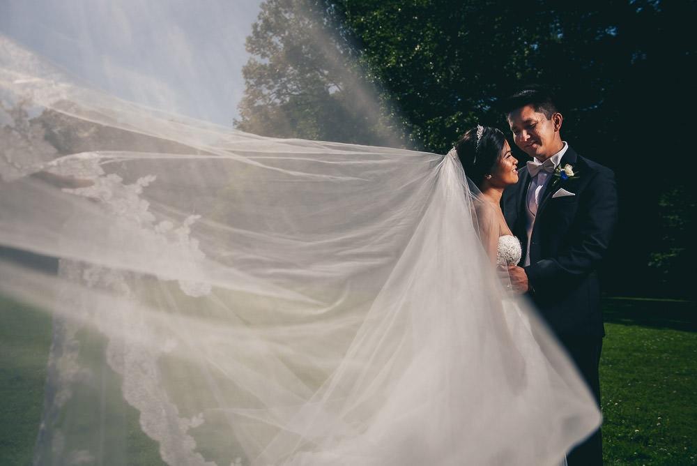 Civic gardens wedding photo of bride and groom