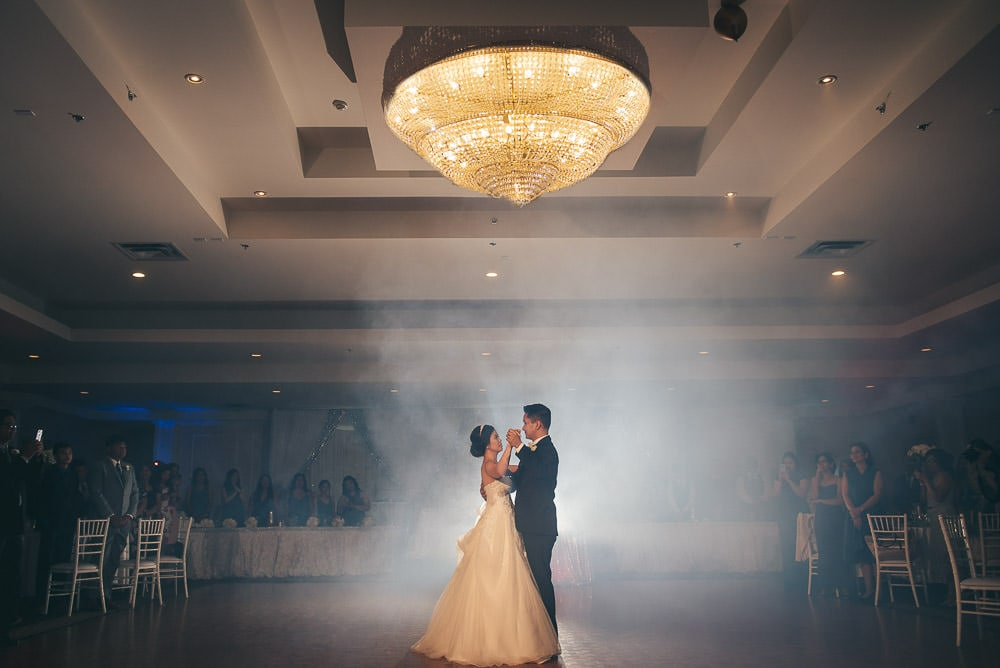bride and groom first dance at wedding at brookside banquet centre