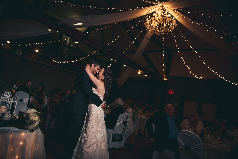first dance in the carriage house at Elmhurst Inn wedding
