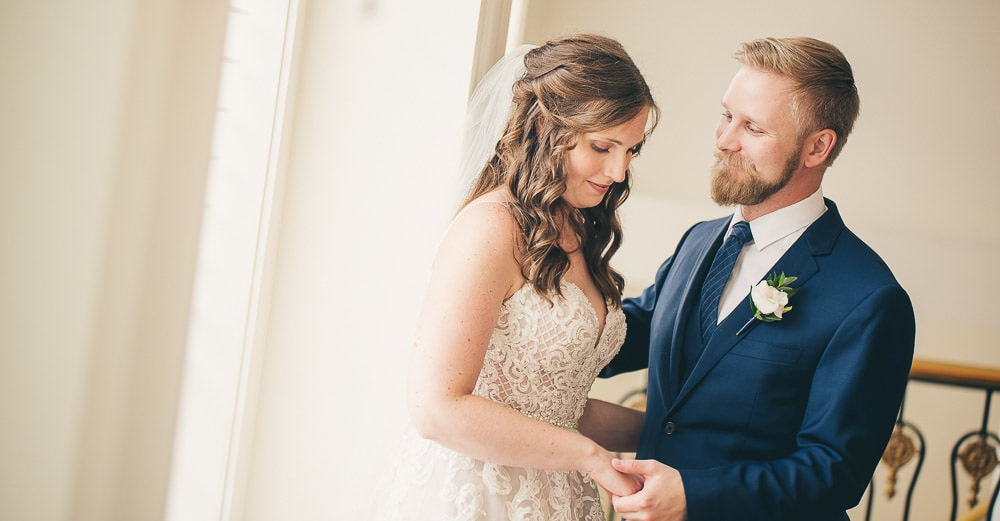 Walper hotel wedding, bride and groom pose for photos