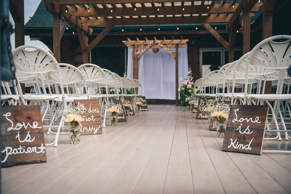wedding ceremony location on deck of pine valley chalet