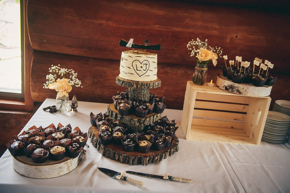 camping inspired wedding cake at pine valley chalet