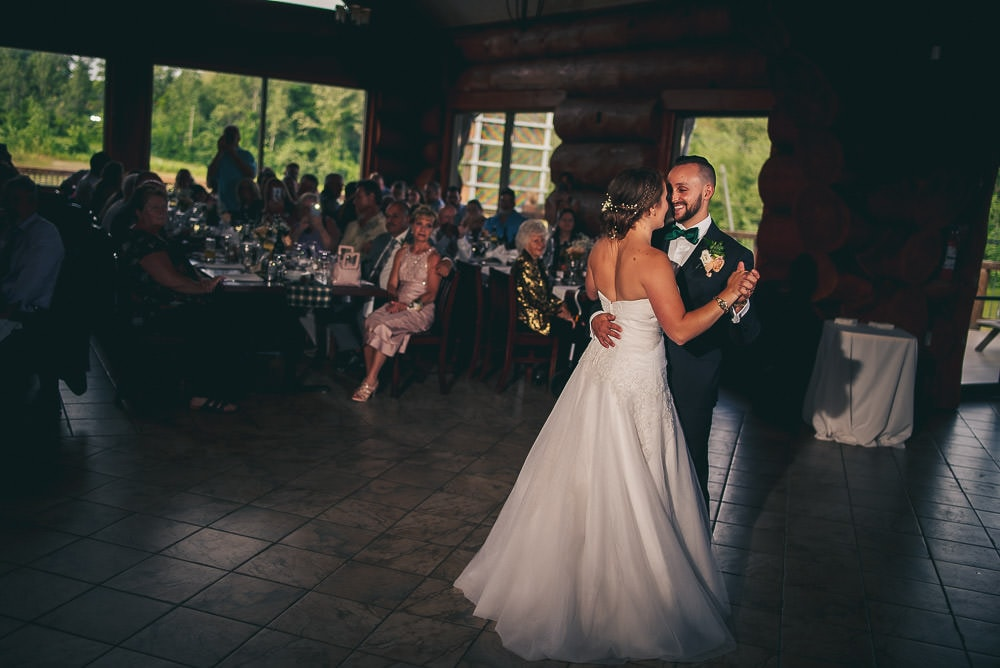 first dance at pine valley chalet Kitchener wedding