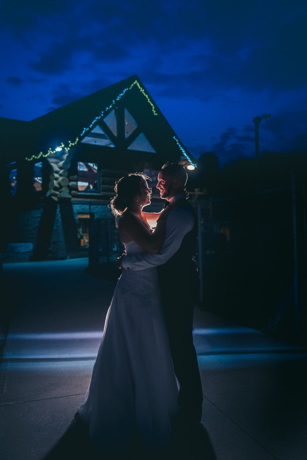 Night time wedding photo at Pine Valley Chalet