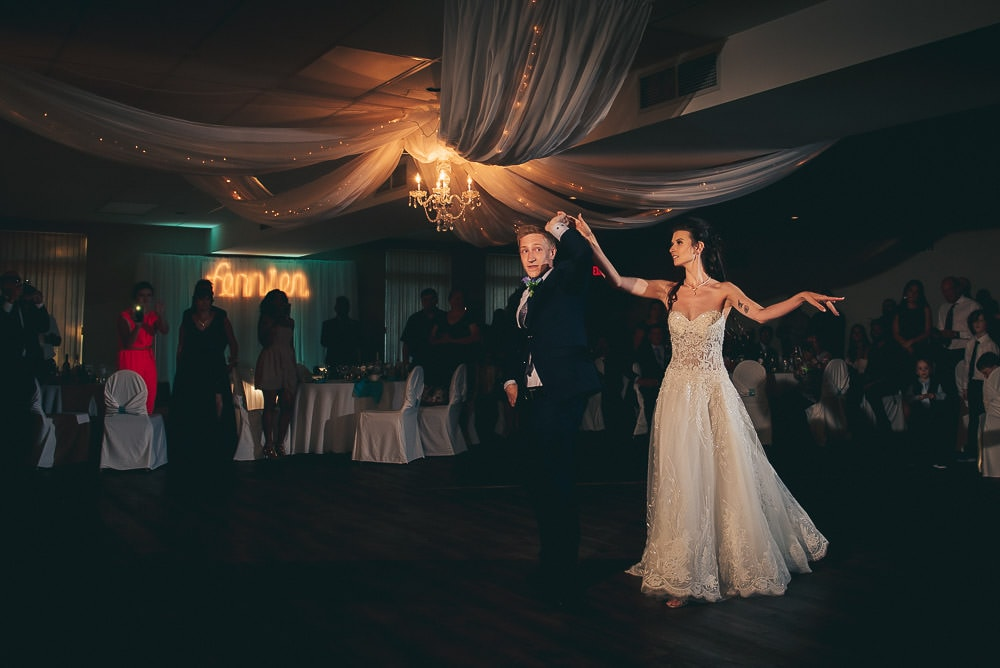 bride and grooms first dance at wedding at Mitchell golf and country club