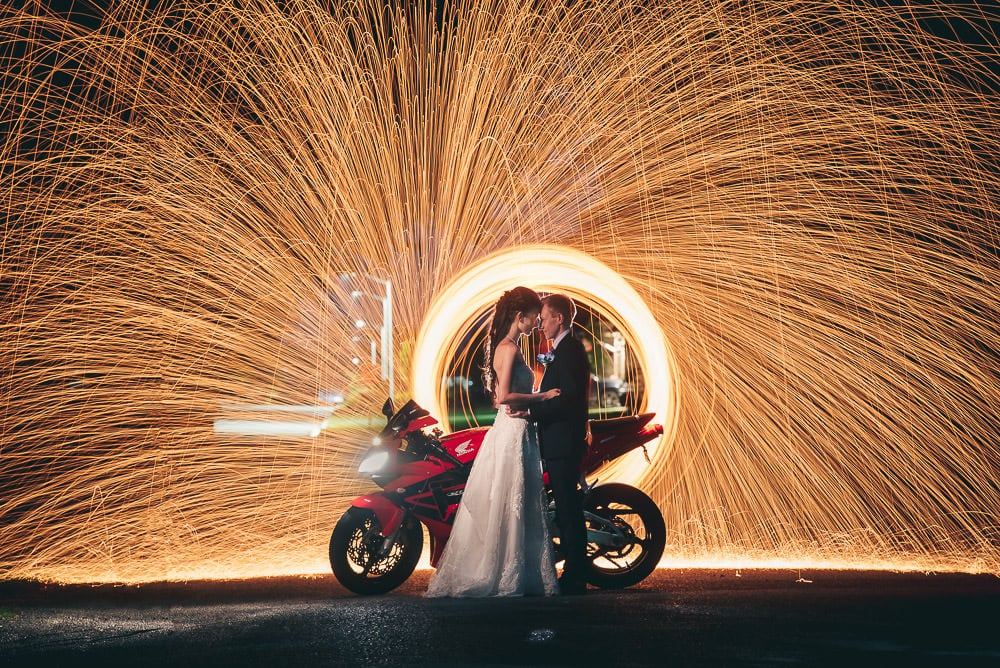 Steel wool wedding photo with motorbike