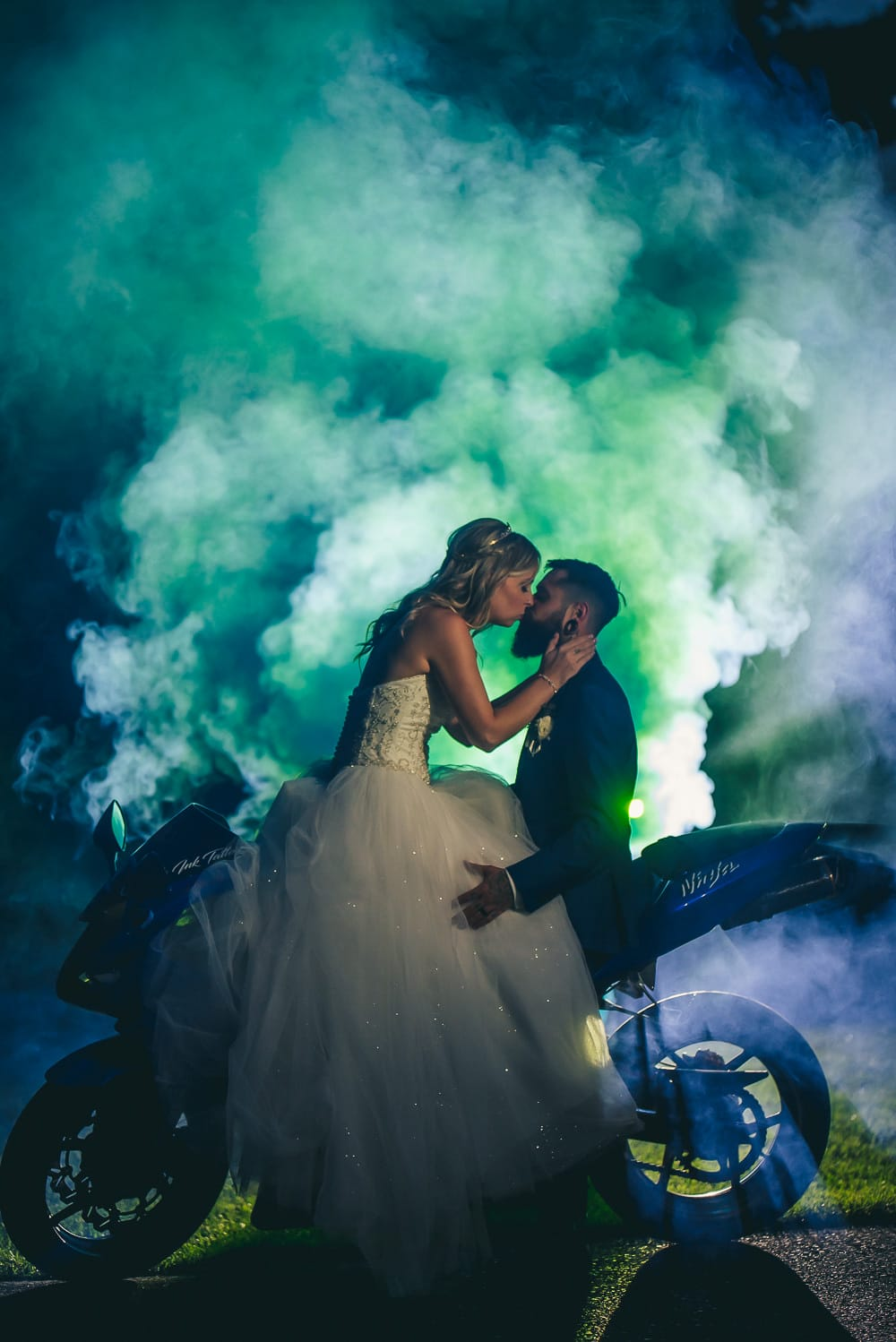 smoke grenade wedding photo with motorcycle at craigowan golf club