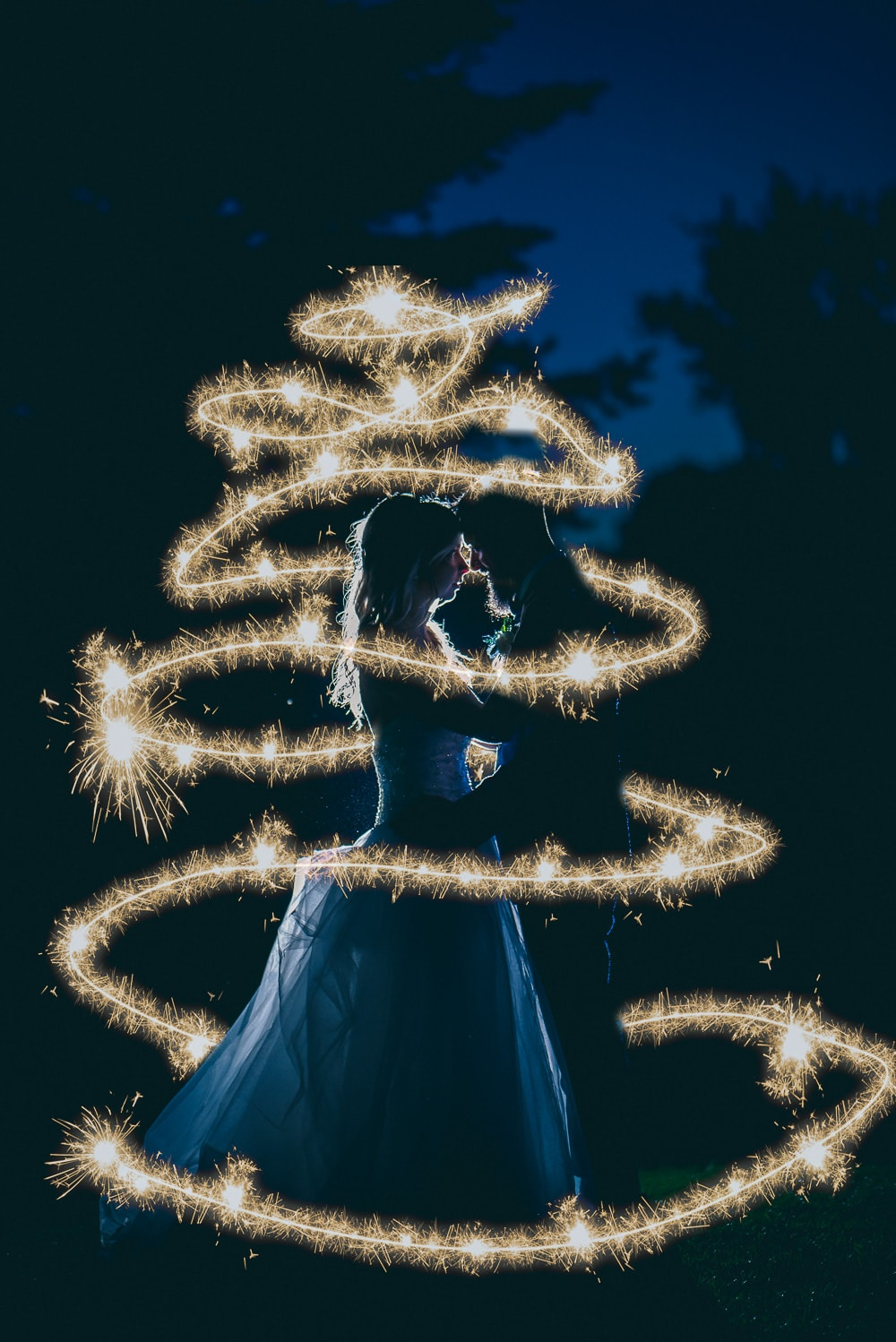 nighttime sparkler wedding photo at craigowan golf club