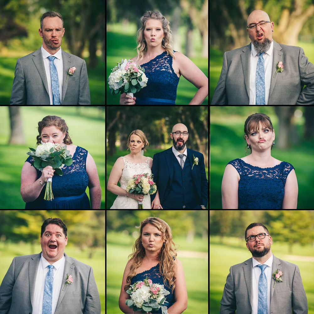 Brady bunch themed wedding party photo at the Stratford country club