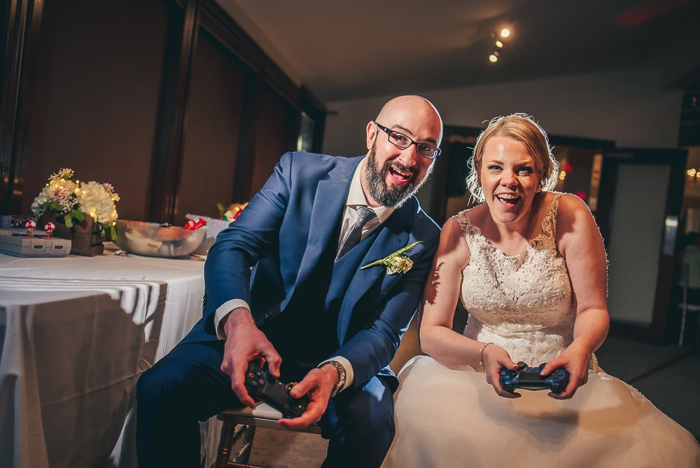 video game themed wedding photo at the Stratford country club