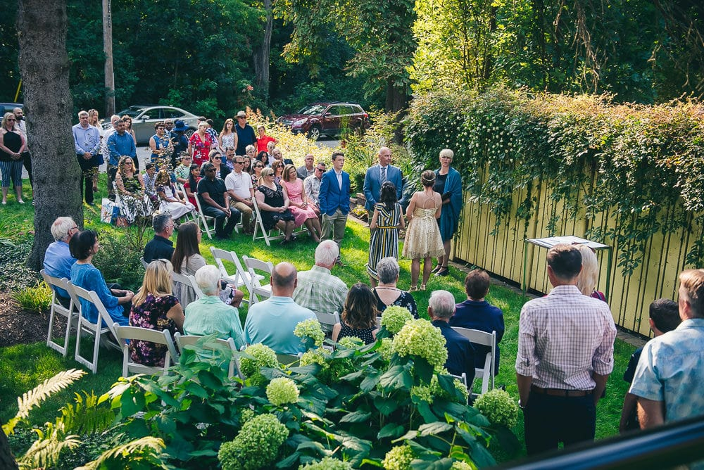 wedding ceremony at backyard wedding in Toronto