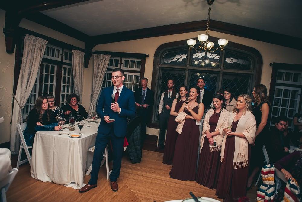 speeches inside at elsie Perrin wedding