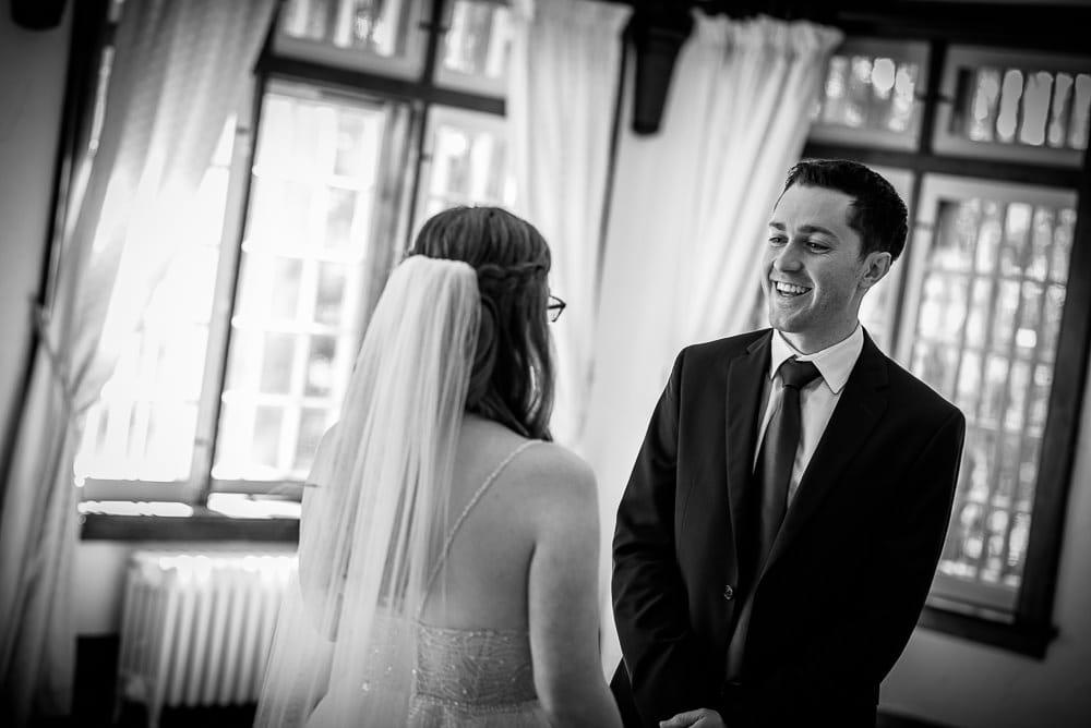 first look of bride and groom at elsie Perrin wedding