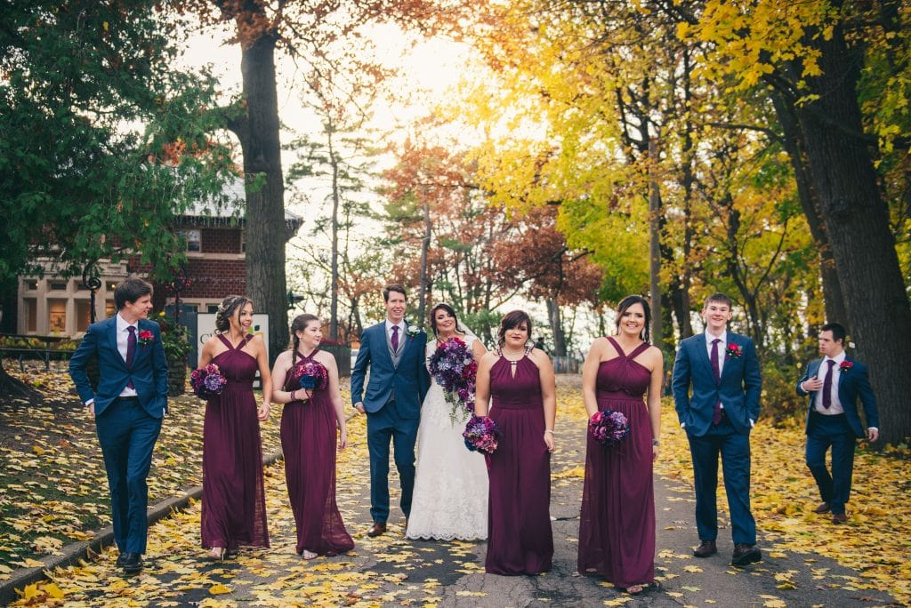 November wedding - still leaves on the trees
